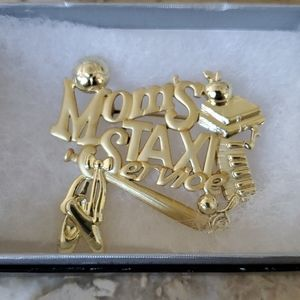 Mom's Taxi gold plated pin